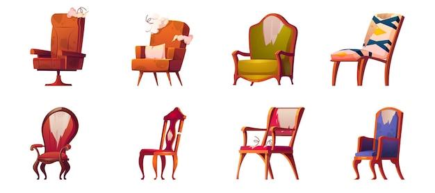 Złamane krzesła i fotele stare meble na białym tle zestaw