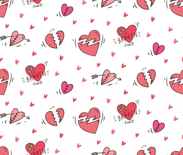 Złamane serce doodle bezszwowe tło