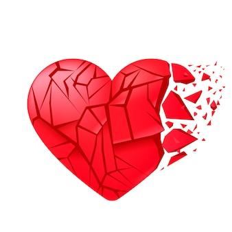 Złamane serce zamknięte na białym tle. czerwone odłamki szkła.