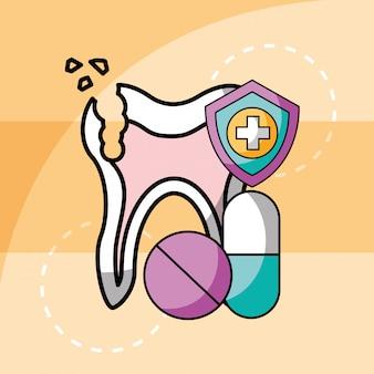 Złamane ząb i kapsułki pigułki lekarstwo