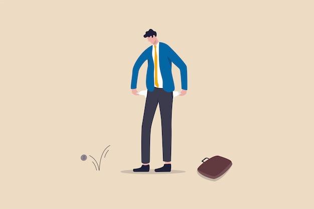 Złamany biznesmen, zbankrutowany biedny człowiek lub problem finansowy z powodu bezrobocia i bezrobocia w koncepcji kryzysu gospodarczego na koronawirusa covid-19, smutny spłukany biznesmen, który trzyma puste kieszenie w spodniach bez pieniędzy.