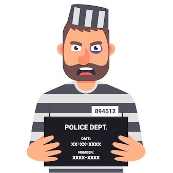 Złapany przestępca trzyma znak z nazwą zdjęcie identyfikacyjne. postać .