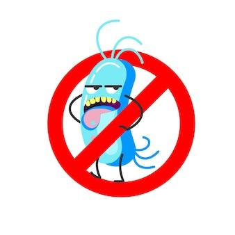 Złe bakterie. ilustracja wektorowa. znak jest zabroniony.