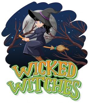 Złe czarownice na tle nocy