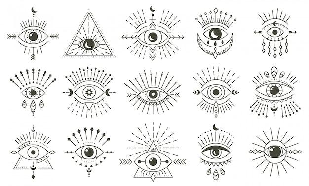 Złe oko doodle. ręcznie rysowane magiczne czary oko talizman, magiczne ezoteryczne oczy, zestaw ikon ilustracji symboli religii świętej geometrii. talizman amuletu, różne pamiątki szczęścia