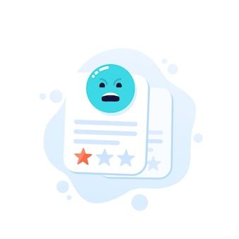 Złe recenzje, grafika wektorowa negatywnej opinii