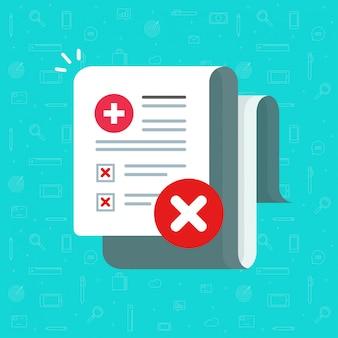 Złe wyniki badań medycznych zdrowia na papierowej recepcie lub niezdrowej diagnozie stanowią płaską ilustrację kreskówki