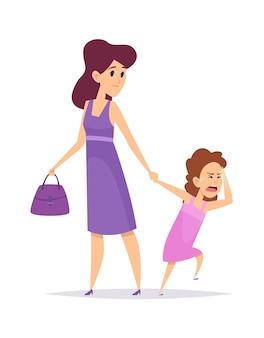 Złe zachowanie. mała dziewczynka płacze, odosobniona matka i córka. kreskówka zdziwiona kobieta i dziecko. ilustracja wektorowa smutna kobieta. zachowanie dziewczyny nieszczęśliwej, konfliktowej matki i córki