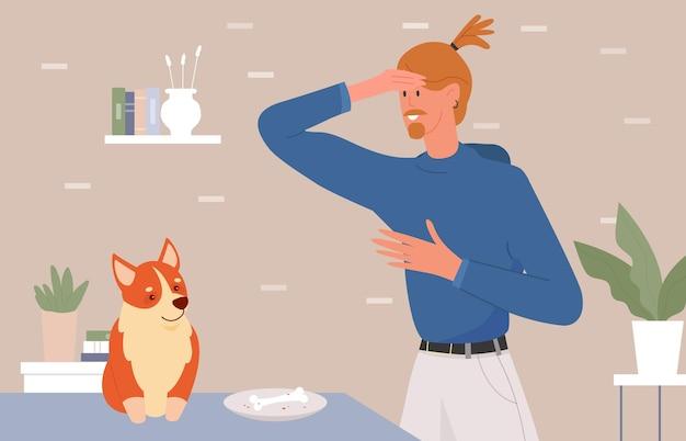 Złe zachowanie problemowe psa zwierzę domowe młody człowiek zdenerwowany pies kradnący posiłek właściciela