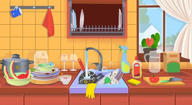 Zlewozmywak z brudnymi naczyniami brudna kuchnia. koncepcja dla firm sprzątających. ilustracja wektorowa kreskówka płaska.