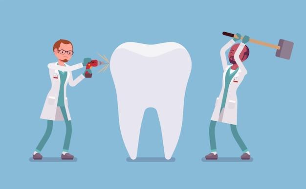 Źli dentyści uszkadzający gigantyczny zdrowy ząb
