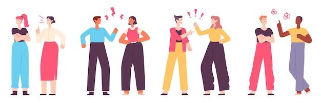 Źli ludzie. konflikt lub kłótnia między rodziną, kolegami lub parą. agresywna kłótnia mężczyzny i kobiety. rodzic beszta nastolatka wektor zestaw. ilustracja konflikt kobieta i mężczyzna, związek między ludźmi