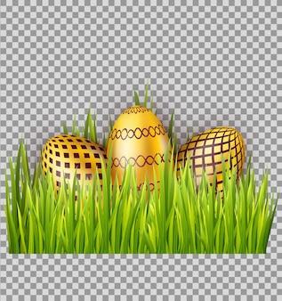 Złoci wielkanocni jajka na zielonej trawie odizolowywającej na przejrzystym tle. projekt elementu dekoracyjnego