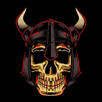 Złocista czaszka z hełmem wikingów ilustracją