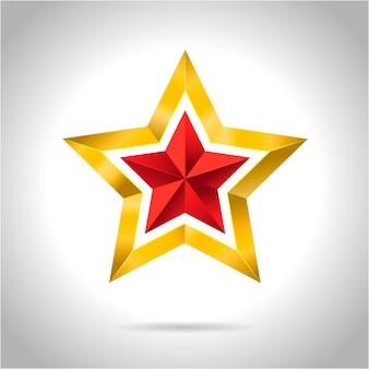 Złocistej czerwieni gwiazdowa wektorowa ilustracja 3d