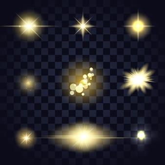 Złocisty lekki gwiazdowy flara obiektyw