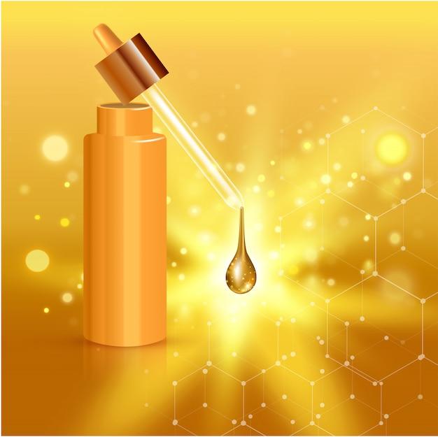 Złocisty realistyczny kosmetyczny tubka plakat z kolagenu rozwiązania śmietanką lub esencją na tło ilustraci