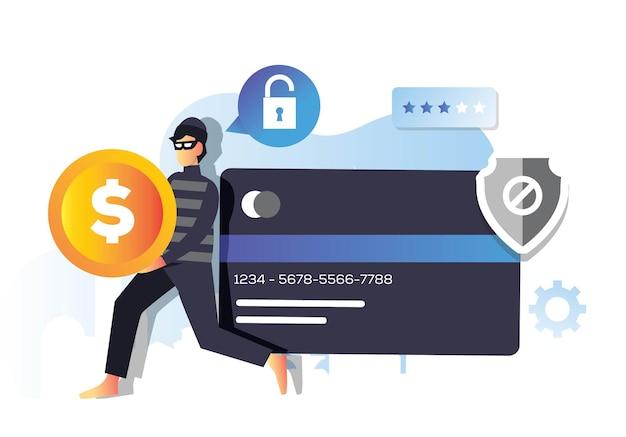 Złodziej cyfrowy z podejrzaną aktywnością włamania do karty kredytowej