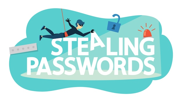 Złodziej kradnie dane osobowe za pomocą hasła. cyberprzestępczość