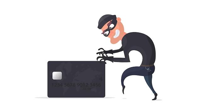 Złodziej kradnie ilustrację karty bankowej