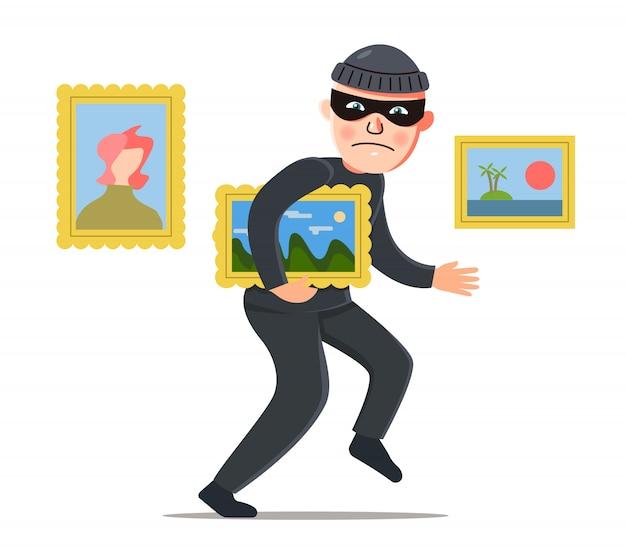 Złodziej kradnie obraz z muzeum. kradzież wartości.