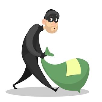 Złodziej lub włamywacz kradnący pieniądze. mężczyzna w masce