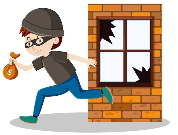 Złodziej lub złodziej rozbił szybę w oknie i trzymając na białym tle mały kreskówka worek pieniędzy