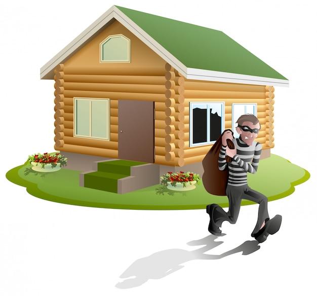 Złodziej obrabował dom. rabuś człowiek działa z torbą. ubezpieczenie nieruchomości
