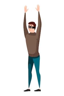 Złodziej oddając ręce w górę postać z kreskówki projekt płaski wektor ilustracja na białym tle