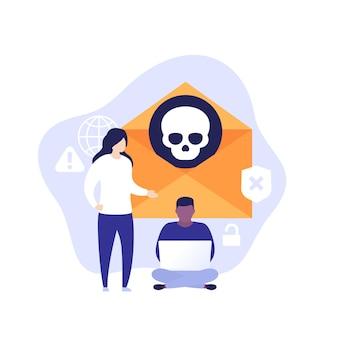 Złośliwe oprogramowanie, poczta e-mail z wirusem, ilustracja wektorowa z ludźmi