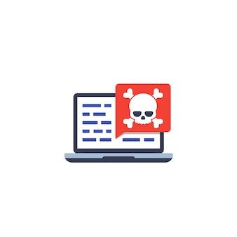Złośliwe oprogramowanie, zagrożenie bezpieczeństwa w kodzie, ikona wektora