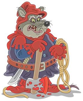 Złośliwy i bezlitosny kat grubego szczura z siekierą i liną