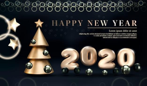 Złota 2020 szczęśliwego nowego roku na ciemnym tle