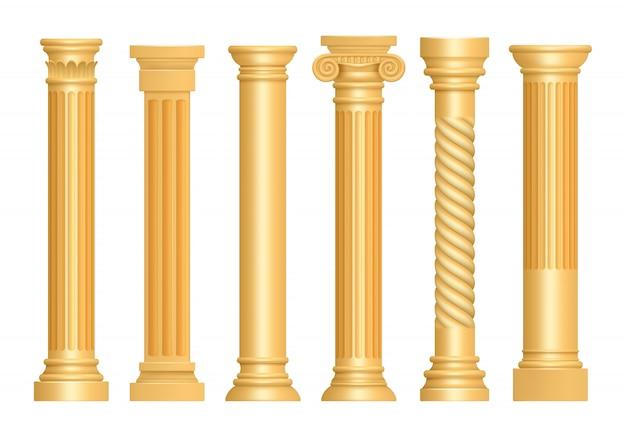 Złota antyczna kolumna. klasyczne rzymskie filary sztuka architektoniczna rzeźba cokół wektor realistyczne