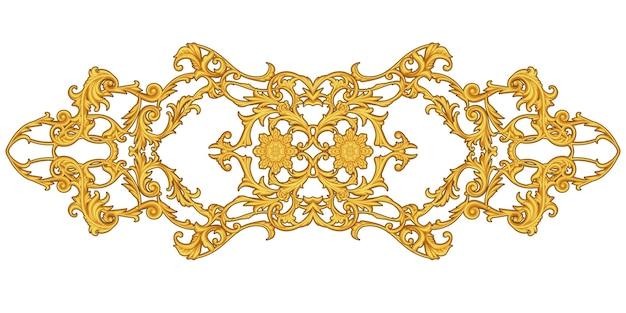 Złota arabeska z motywem kwiatowym na białym tle