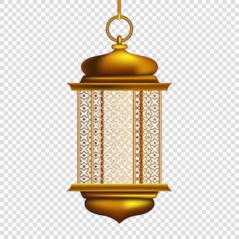 Złota arabska latarnia na przezroczystym