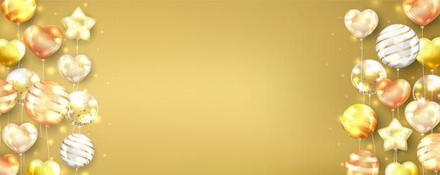 Złota balonów tło horyzontalny z kopii przestrzenią.