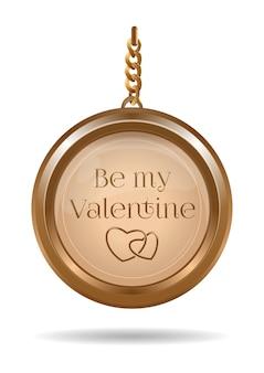 Złota biżuteria na walentynki. złoty medalion na łańcuszku z napisem - be my valentine. ilustracja na białym tle