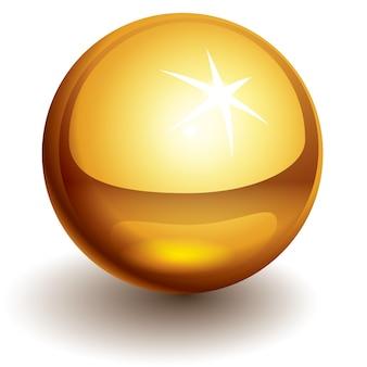 Złota błyszcząca kula. zastosowana przezroczystość. kolory globalne. używane gradienty.
