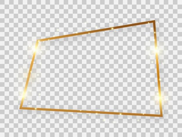 Złota błyszcząca prostokątna rama ze świecącymi efektami i cieniami na przezroczystym tle. ilustracja wektorowa