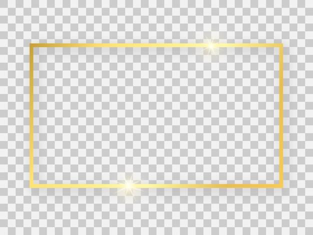 Złota błyszcząca ramka prostokątna 16 x 9 z efektami świecącymi i cieniami na przezroczystym tle. ilustracja wektorowa