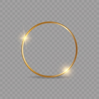 Złota błyszcząca świecąca ramka z cieniem na białym tle
