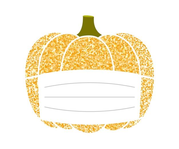Złota brokatowa dynia w masce ochronnej na uratowanie świątecznego halloween