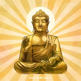 Złota budha statua z ręka rysującym stylem