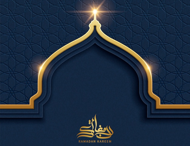 Złota cebula kopuła z niebieskim tle geometryczny wzór i miejsce na powitanie słowa, kaligrafia ramadan kareem