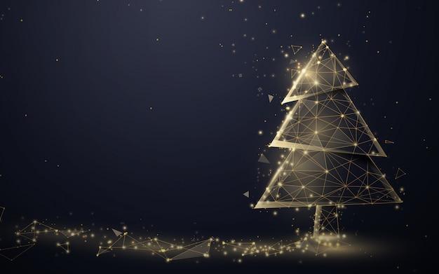 Złota choinka i girlanda musujących świateł z linii, trójkątów i cząstek.