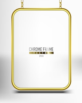 Złota chromowana rama na baner. panel powierzchni reklamowej na tekst wiszący na łańcuchach
