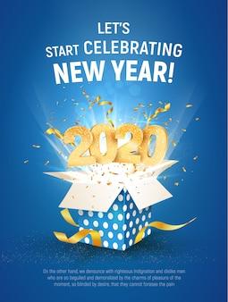 Złota cyfra 2020 leci z niebieskiego pudełka. plakat szablon obchodów nowego roku