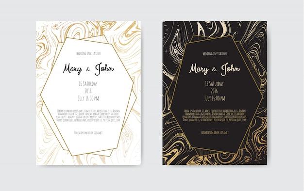 Złota, czarna, biała marmurowa karta szablonowa