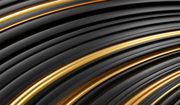 Złota czarna linia 3d nowoczesny styl tło. koncepcja streszczenie minimalnej geometrii paski.